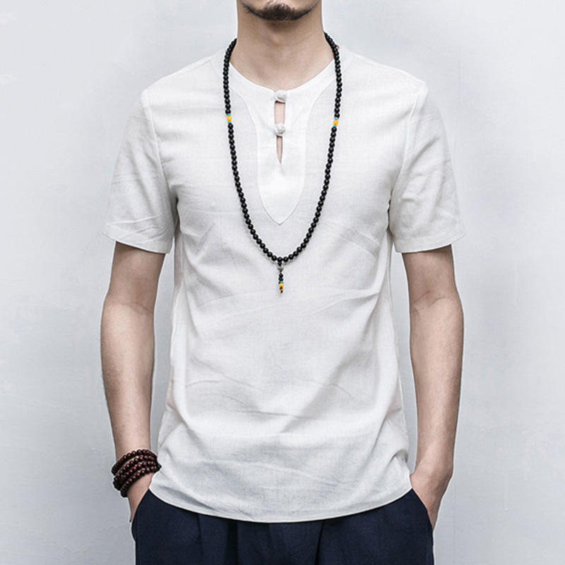 Chinese Style Men's Cotton Linen Breathable T-Shirts Fashion Casual Buckle Collar Short-sleeved Tops