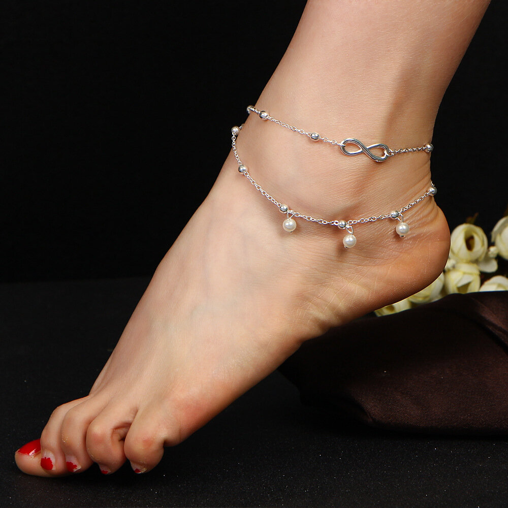 89773a2182c9 Moda Infinity Nudo Multicapa Mujer Tobillera Perla Perla Pulseras Anillos para  Mujeres