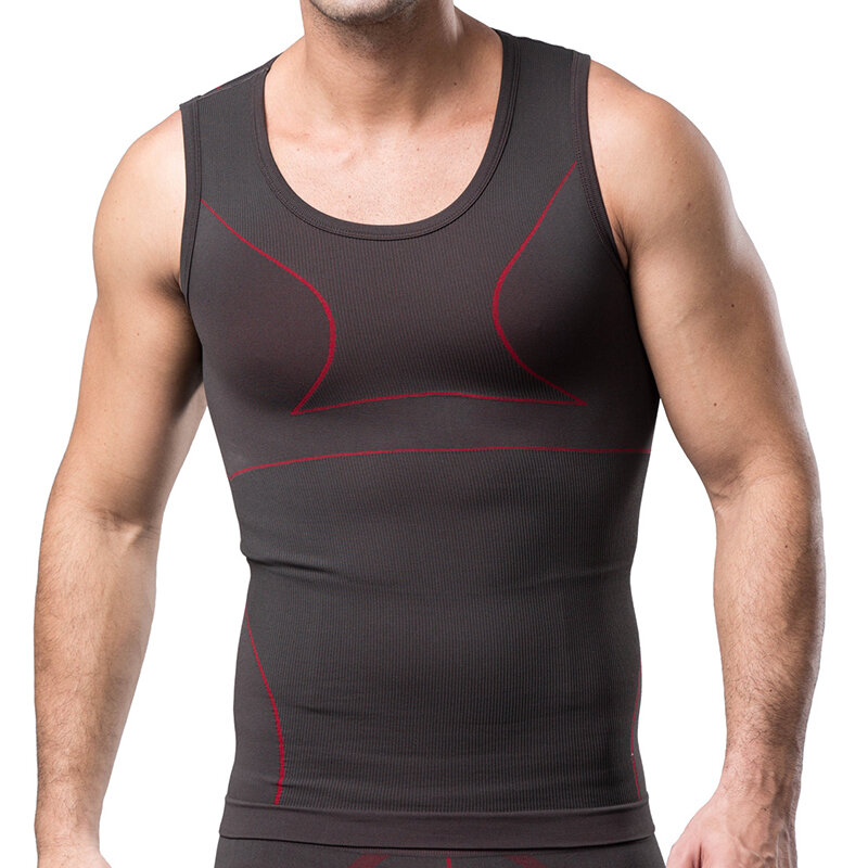 7565eb88 Mens Elastic Gym Comfortable Breathable Sport Compression O Neck Tank Tops  - White 2XL COD