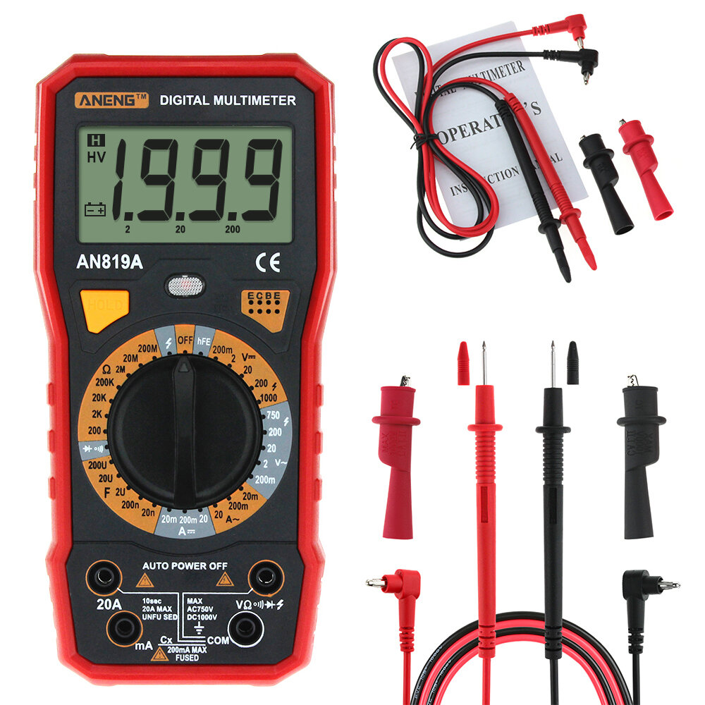 Aneng An819a Digital Multimeter Ac Dc Current Voltage Capacitance Electrician Testing Doorbell Transformer With Resistance Diode Tester Live Line Measurement