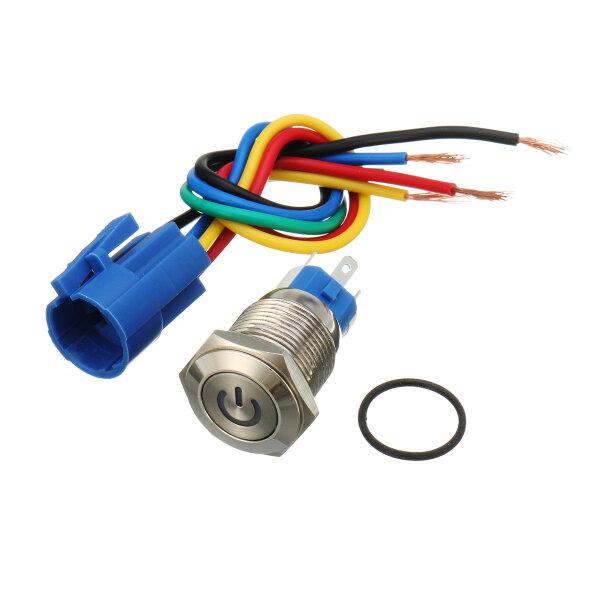 16mm 12V Metal İtmeli Düğme Anahtarı LED Kilit Açma / Kapama Soket Tak Tel İtmeli Anahtarı
