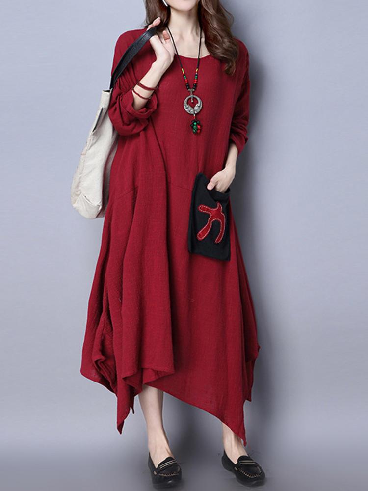 Vestito irregolare da donna delle tasche di Hem del manicotto lungo etnico del manicotto