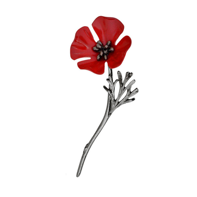 Vintage Clothing Beautiful Brooches Poppy Flower Silver Gold Collar Pins for Women Men