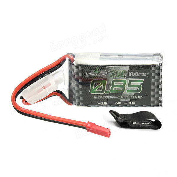 Charsoon 7.4V 850mAh 35C 2S Lipo Battery JST Plug With Strap