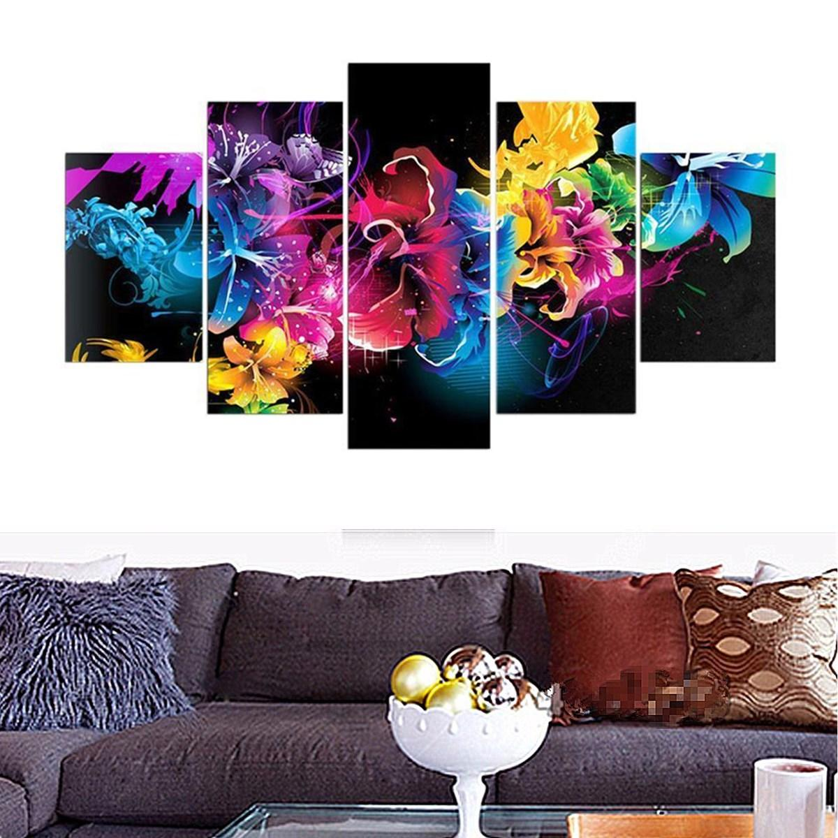 5pcs Colorful Flower Full Drill 5d Diy Diamond Paintings Kits Home