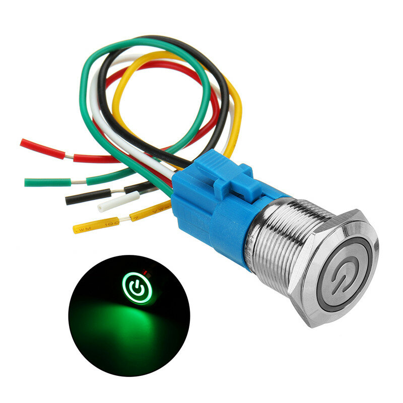 Amazing 19Mm Metal Self Locking Switch 12V Led 5Pin On Off Push Button Wiring Digital Resources Operbouhousnl