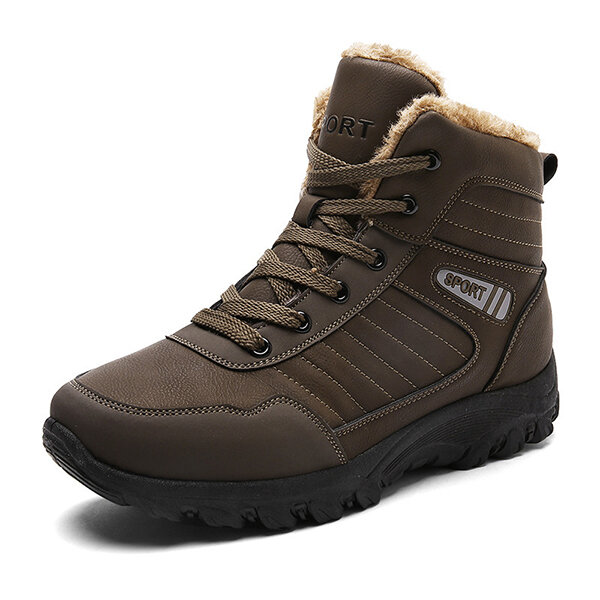 Men Comfy Warm Lining Outdoor Hiking High Top Leather Athletic Boots