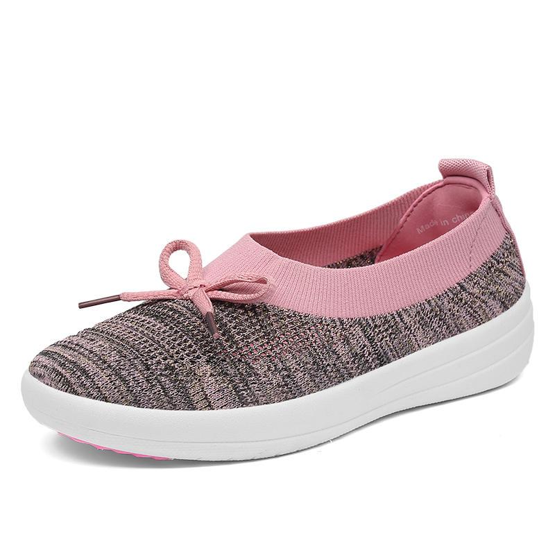 أحذية رياضية عادية المرأة تنفس الحياكة الشقق المتسكعون