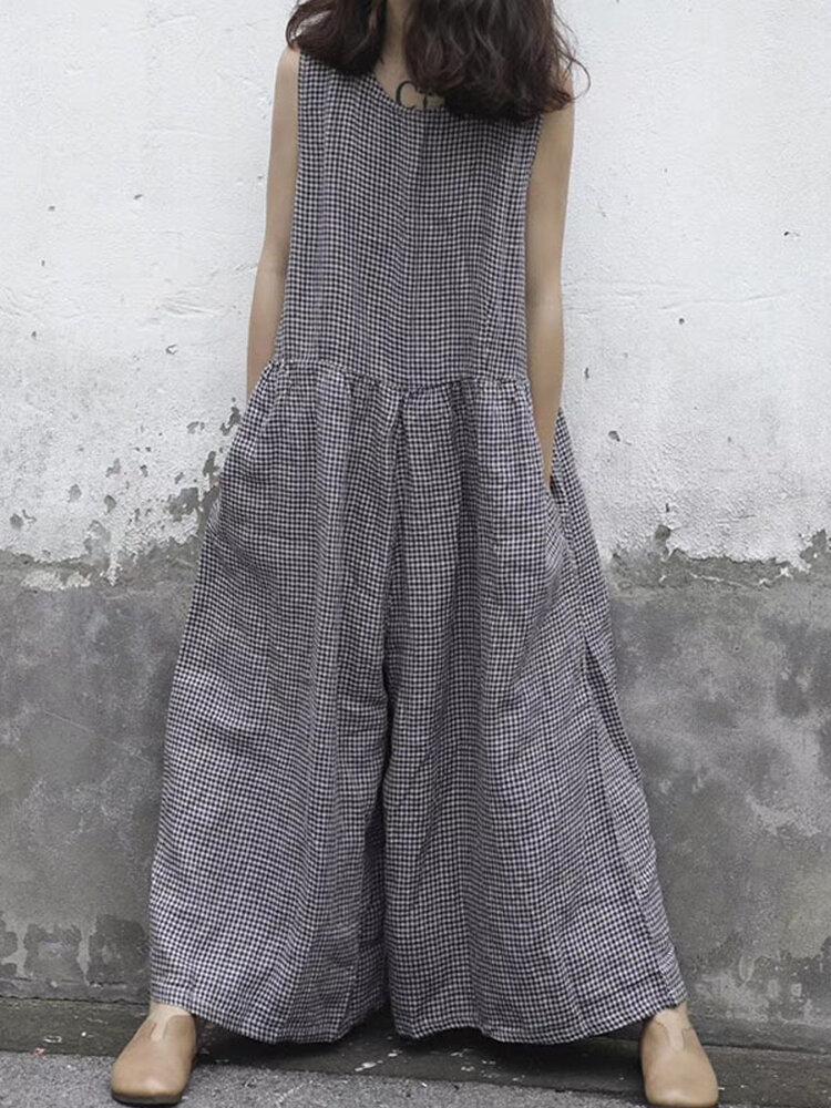 Women Sleeveless Plaid O-neck Overalls Wide Leg Jumpsuit