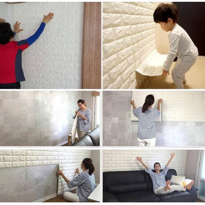 4pz 3d carta da parati adesivi da muro di grano di mattoni for Carta da parati muro mattoni