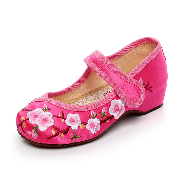 d4034834d Chicas Mary Janes Bordado Chino Flores Zapatos de Seda Peach Blossom Flat  Loafers Calzado Casual