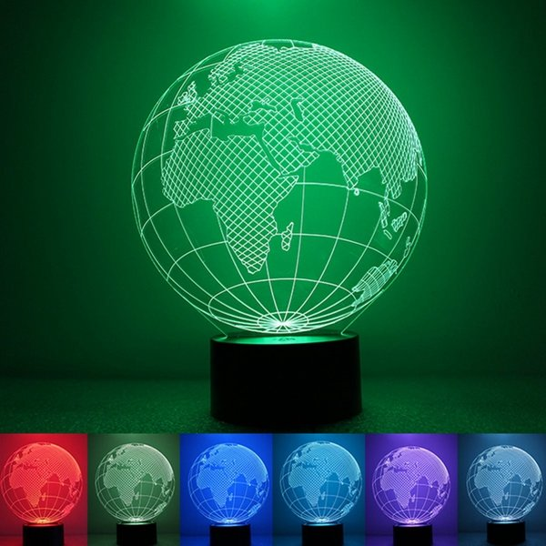 3d Earth Globe Night Light 7 Color Changing Usb Led Table Lamp Home