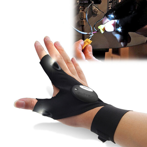 ZANLURE Multifunctional EDC Fishing Fingerless Glove LED Repair Flashlight Survival Outdooors Rescue Tool