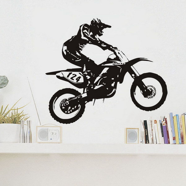 50x44cm removable wall sticker motor-racing bike rider mural house