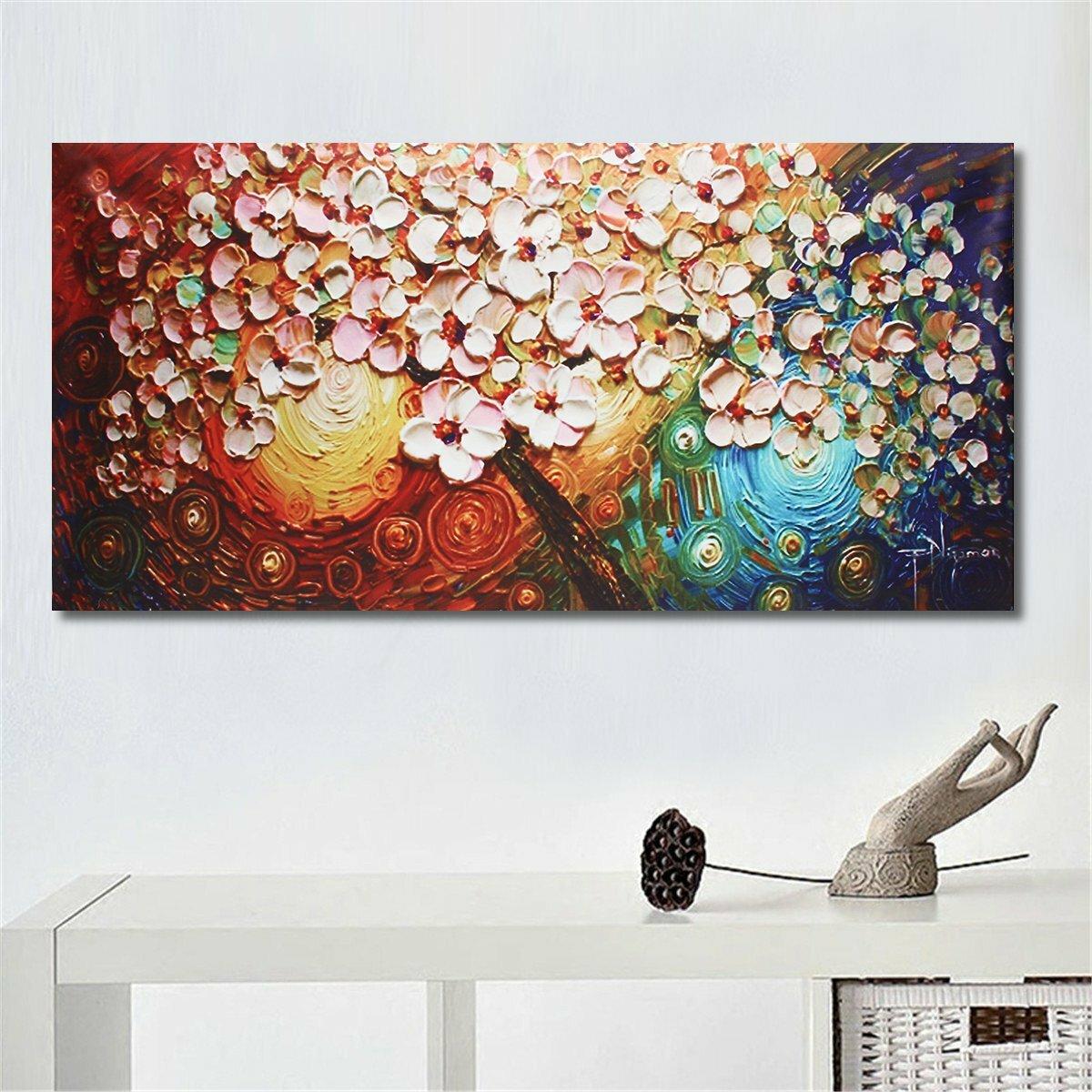 dipinto a mano albero di fiori dipinti ad olio astratti wall poster ...