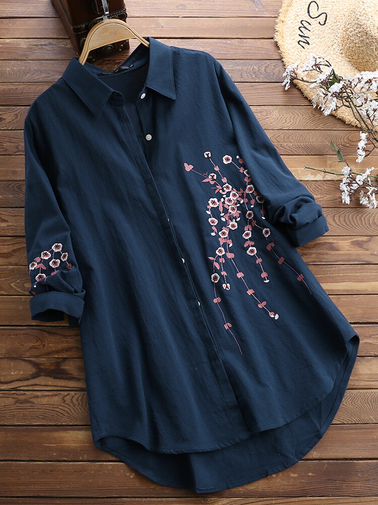 Women Cotton Button Down Plum Embroidered Blouse