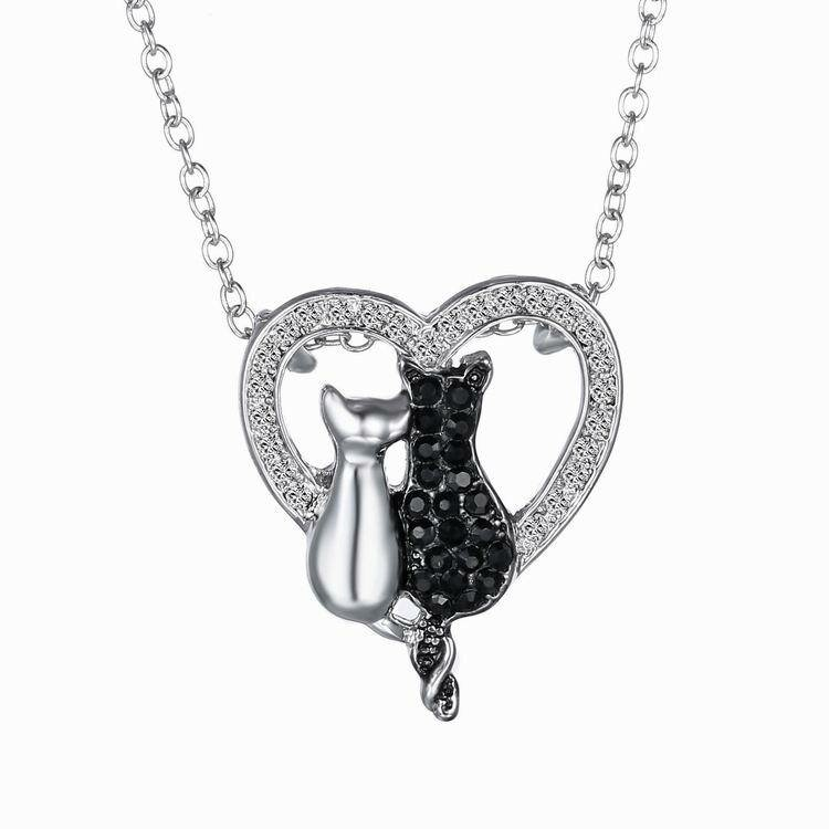 Lovely Couple Cats Heart Crystal Pendant Jewelry Women Necklace Gift