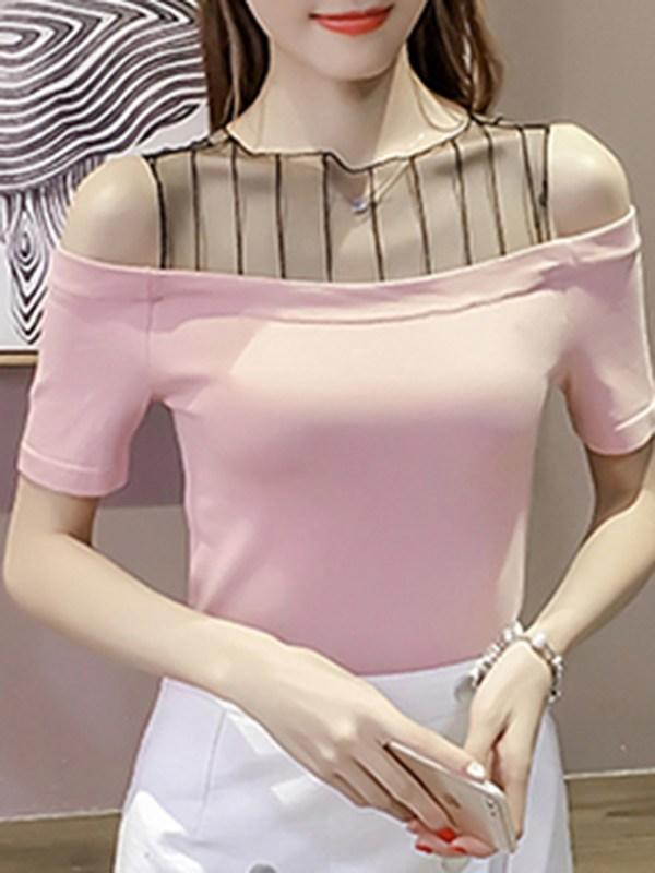 Women's Hollow Shoulder Short Sleeve T Shirts O Neck Mesh Patchwork Tops
