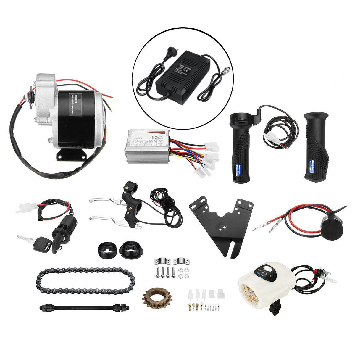 36V 350W Motorized Electric Bike Motor Controller with Charger E-Bike Scooter Conversion Kit