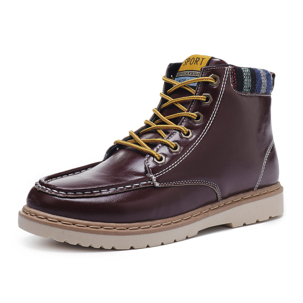 Men Casual Soft Leather Ankle Boots Lace Up Boots Moc Toe Shoes