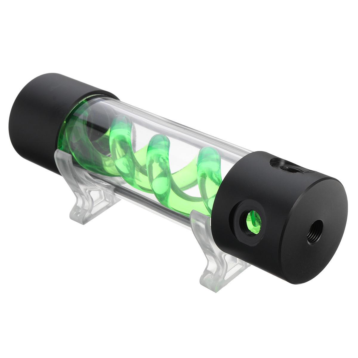 G1/4 Cilindro Serbatoio di Sistema di Affreddamento ad Acqua di Computer Verde T-Virus Sospensione a Doppio Spirale