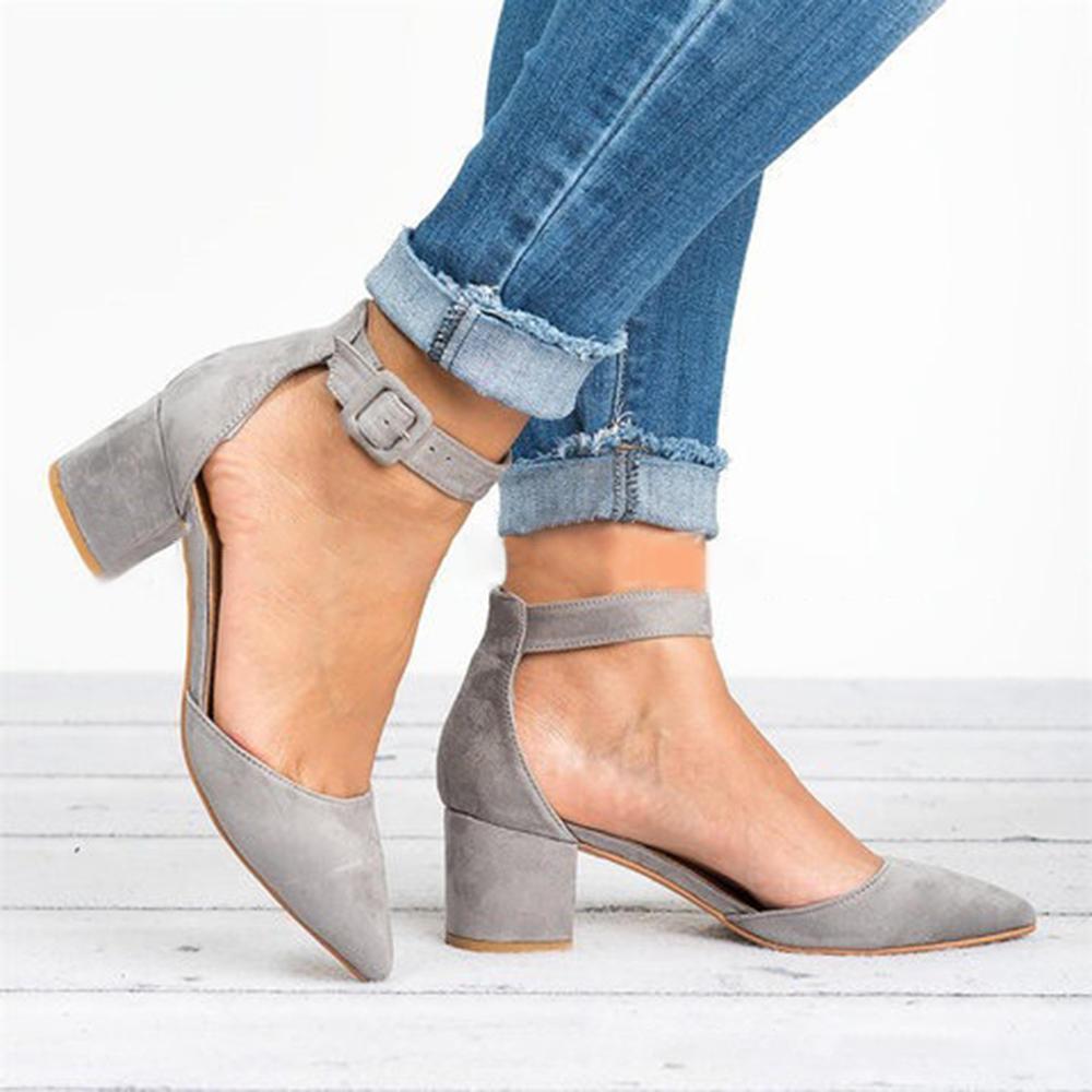 26c44226b289 large size women chunky heel ankle strap pumps at Banggood
