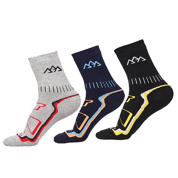 Mens หนาอุ่นสูง หลอด HikingOutdoor Breathable Striped Printing ถุงเท้ากีฬาฤดูหนาว