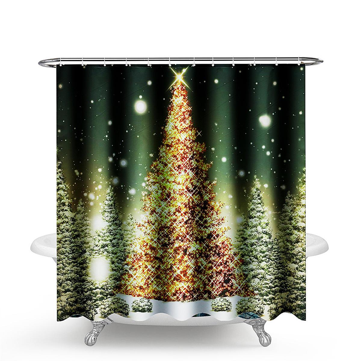 US Christmas Shower Curtain XMAS Waterproof Fabric Bathroom Polyester 12 Hooks