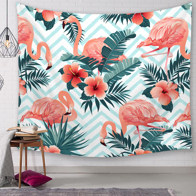 Flamingo Tapestry Wall Blanket Plants Flower Polyester Tablecloth Hanging Table Runner Home