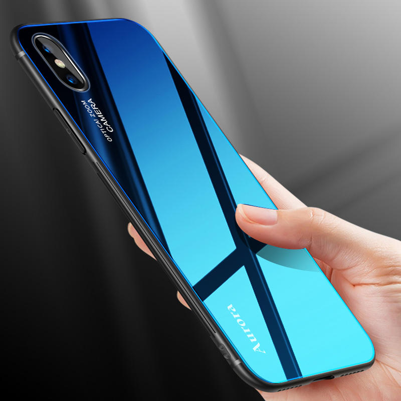 34d586fa67e Bakeey Gradient Color Aurora Blue Ray Tempered Glass Soft Edge Protective  Case for iPhone X - 001 COD