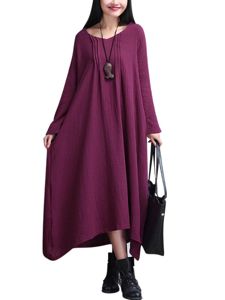 Loose Mujer Folk Style Color sólido plisado Maxi Vestido