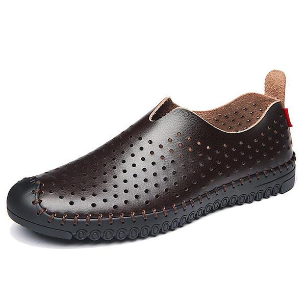 Zapatos de Banggood Hombres cómodos Ovejas transpirables huecas Piel Genuina Slip on Oxfords