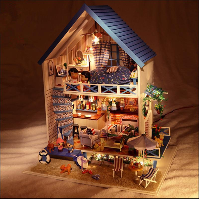 Hoomeda DIY дерево романтический Эгейском море кукольный миниатюрная с LED музыка мебель кукольный дом