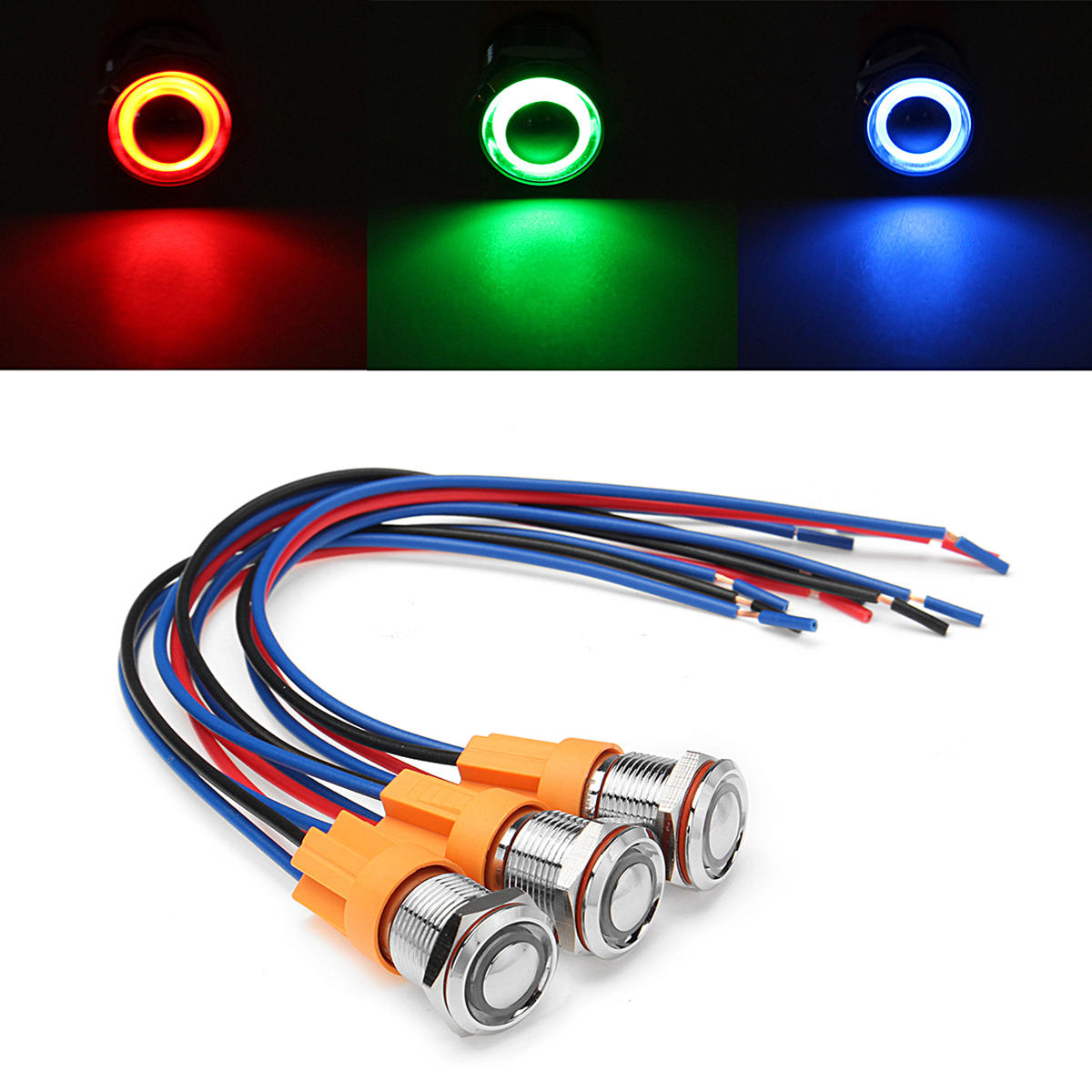 12v 24v 4pin 12mm Metal On Off Led Push Button Switch Wiring Harness