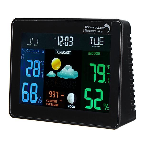 DC 4.5V Station météo sans fil Horloge multifonctions Horodateur numérique Température Humidité intérieure / extérieure WWVB avec bas Batterie Indicateur LCD Alarme écran coloré et fonction Snooze