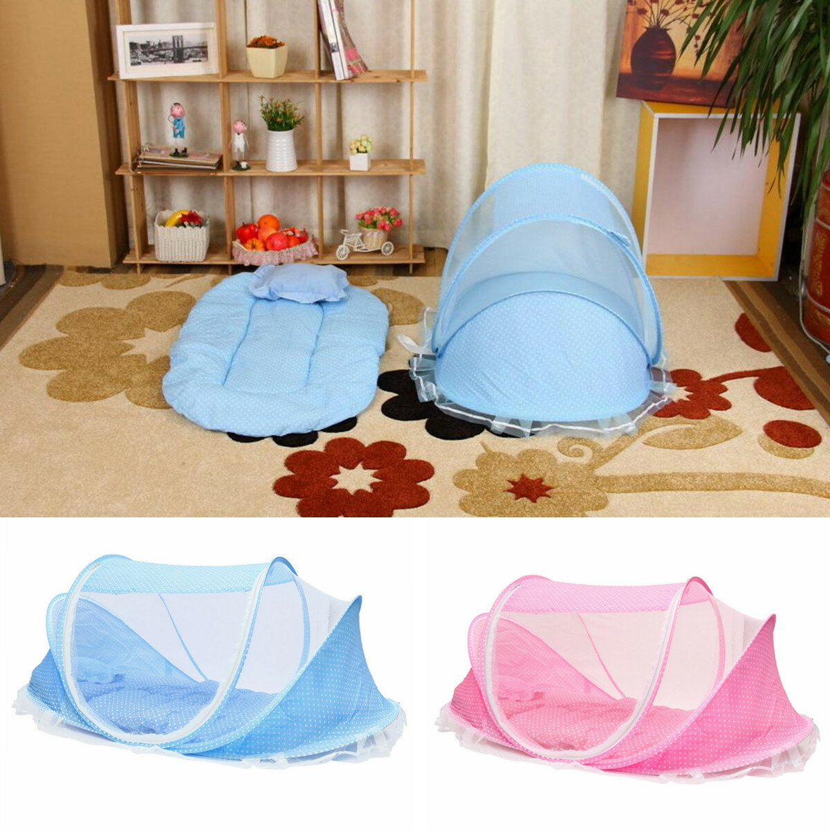 baby infant portable folding travel bed crib canopy mosquito net tent Sale - Banggood.com & baby infant portable folding travel bed crib canopy mosquito net ...