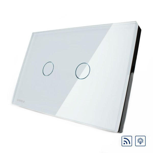 Livolo White Crystal Glass Dimmer&Remote Switch VL-C302DR-81