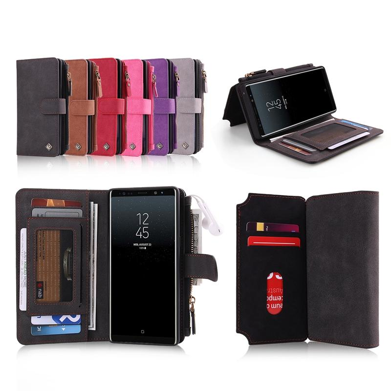 POLA Magnetic Detachable Wallet Card Slots Case For Samsung Galaxy Note 8/S8 Plus/S8/S7 Edge/S7