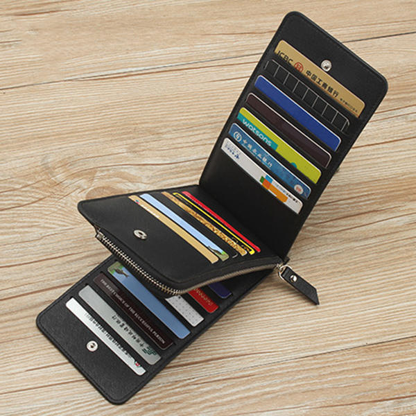 Men PU Leather Waterproof Durable Bifold Wallet 26 Card Slots Casual Business Card Pack