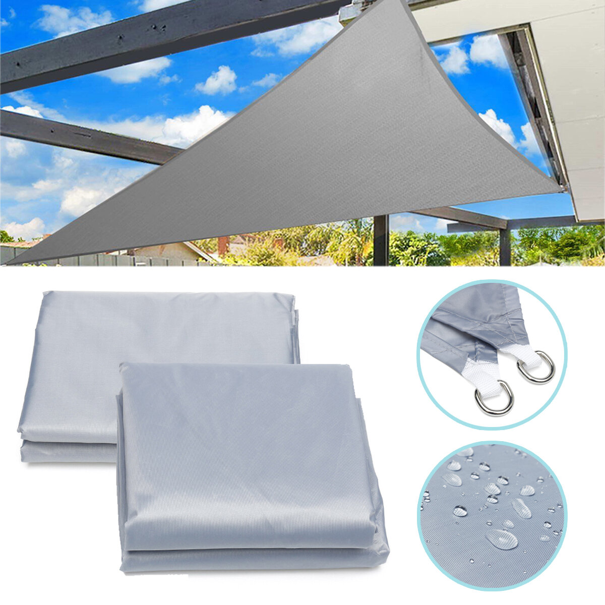 3 6m 5m Triangle Sun Shade Sail Outdoor Garden Patio Uv Proof Awning Canopy Screen Cover Cod