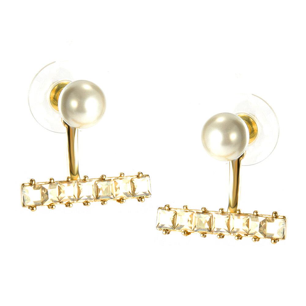 Pendientes de lujo de perlas de plata pendiente lindo regalo de la chaqueta del oído del chaleco para niñas Mujer