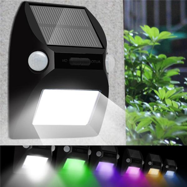 デュアルヘッドモーションセンサー太陽光発電12LEDウォールライト7色屋外の防水ランプを変更する