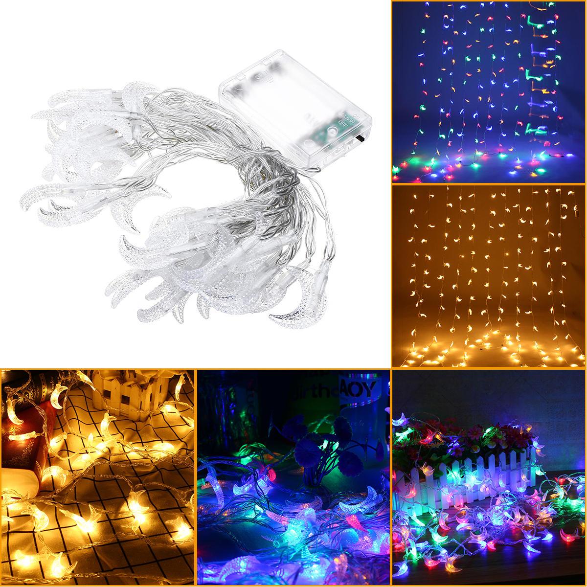 6MムーンシェイプウォームホワイトColorful 40 LEDストリングフェアリーライトウェディングホリデーデコレーション