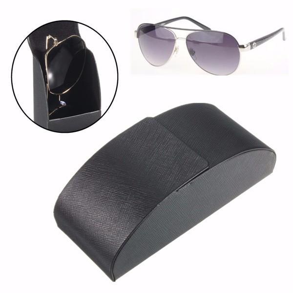 Couro curva de metal de ferro preto arco caixa de caso difícil de óculos óculos de sol