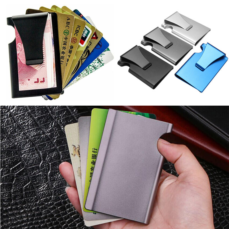 520b716732 Porta carte di credito antifurto da viaggio in metallo Sottile da esterno  RFID Portafoglio con fermasoldi