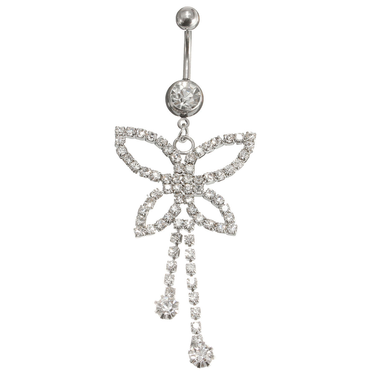 Butterfly Belly Ring Tassels Crystal Sexy Body Jewelry For Navel Bar