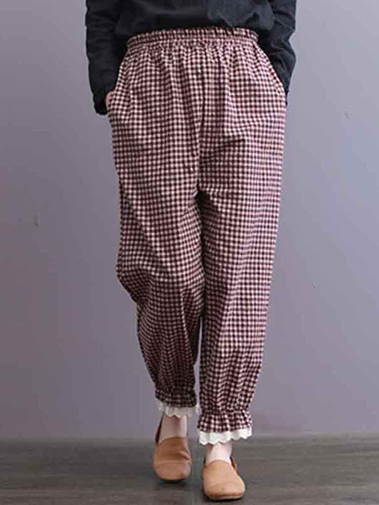 S-5XL Women Plaid Elastic Waist Lös Casual Byxor