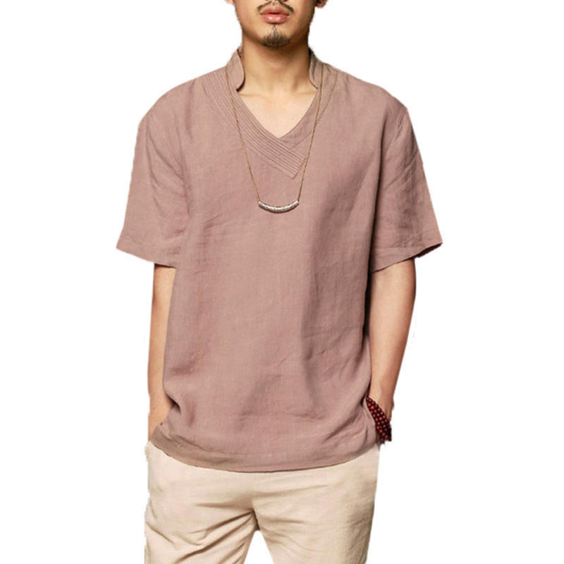 Mens Cotton Solid Color V-neck Short Sleeve Loose Fit Casual T Shirts