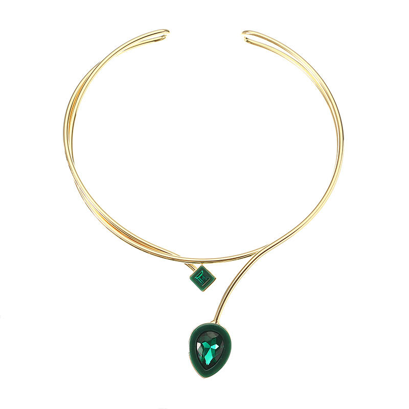 JASSY® Women 18K Gold Plated Crystal Necklace Green Gemstone Drop Pendant Two Layer Collar Gift