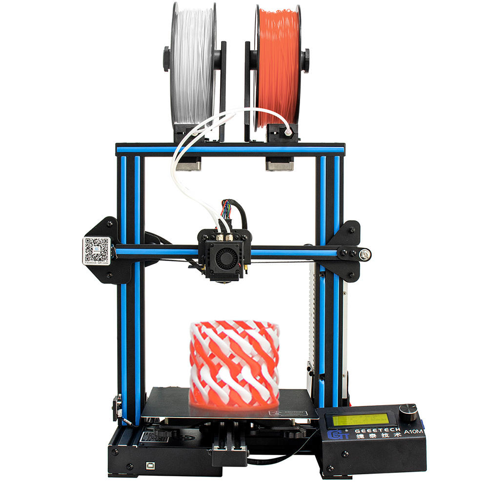 Geeetech® A10M Mix-color Prusa I3 Impresora 3D 220 * 220 * 260mm Tamaño de impresión con extrusora doble / detector de filamentos / Power Resume / 3: 1 Gear Train / Open Source Control Board